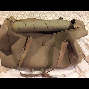 Salvatore Ferragamo taupe Leather overnight bag